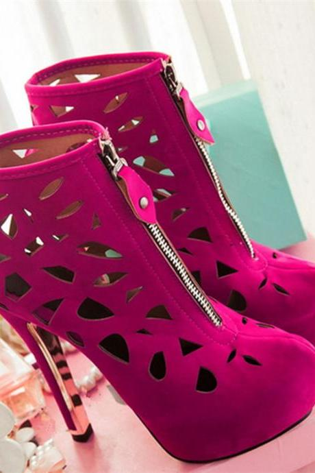 Cut Out High Heel Ankle Boots