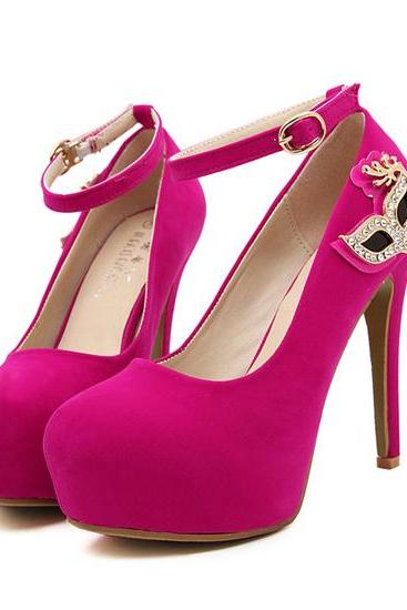 Hot Pink Rhinestone Embellished High Heels Fashion Shoes