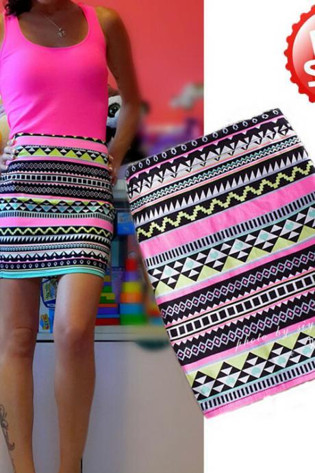 National printed and high pockets hip sexy joker skirts, short skirts