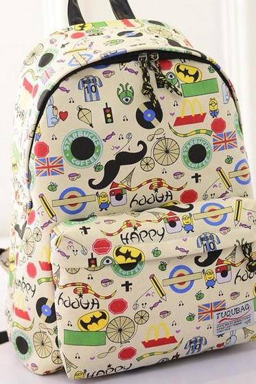 Hot sale Cartoon Casual Mustache British Flag Graffiti College Backpack
