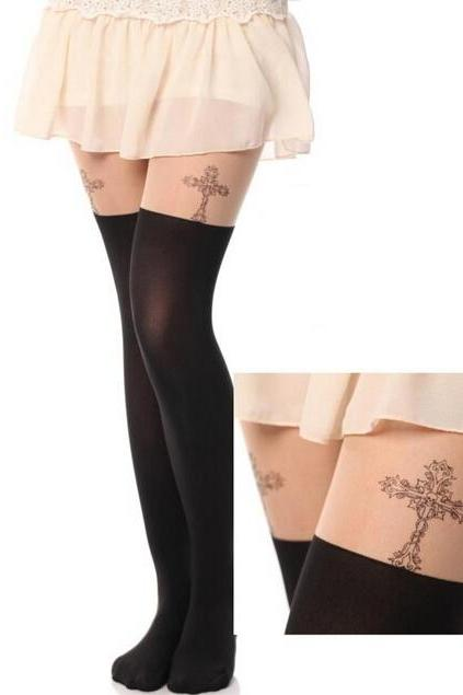 Cross Pattern Print Tail Tights Stockings Pantyhose For Spring and Summer