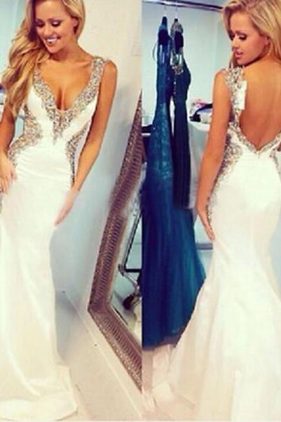 Beading Charming Prom Dresses,The Backless Floor-Length Evening Dresses, V-Neck Prom Dresses, Real Made Prom Dresses
