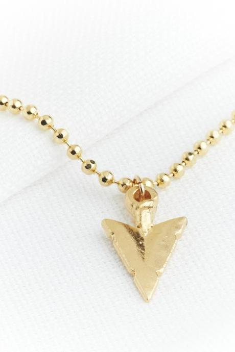 Gold long necklace, Gold arrowhead necklace, Gold pendant necklace, Arrow necklace, Everyday necklace, Gift for her, Gold trendy jewelry