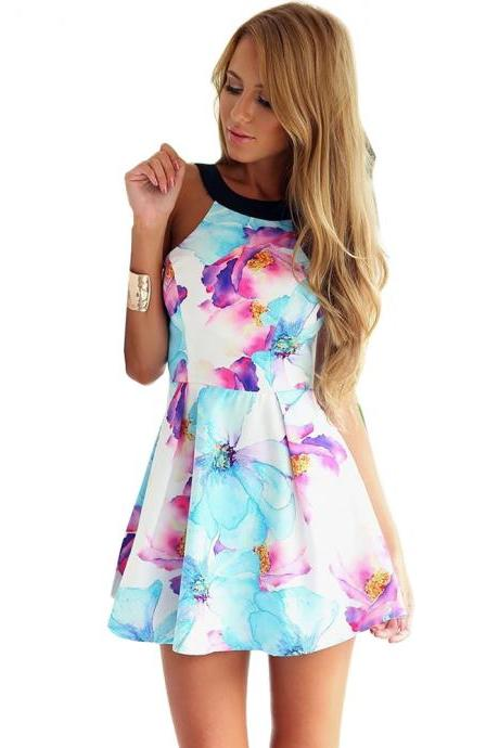 Flower Print Backless Mini Tank Dress