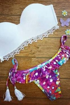 Cute White Tassel Design Swim Suit