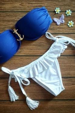 Royal Blue Anchor Design Swimsuit