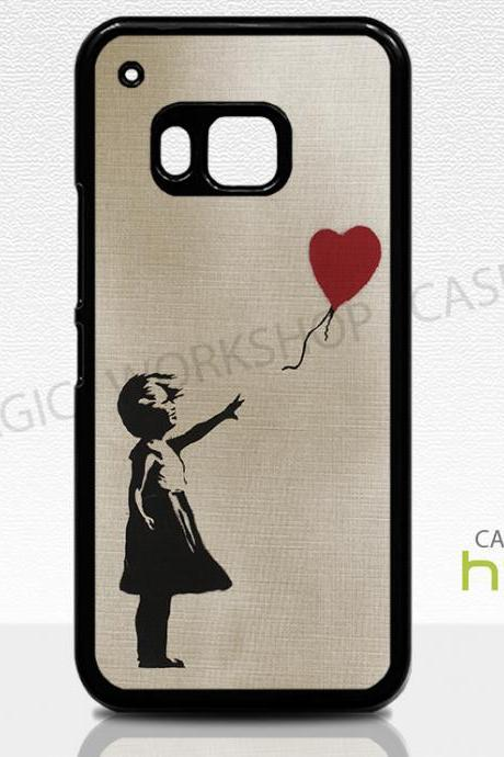 HTC One M8 M9 Case, Banksy Girl On Linen Texture, Balloon, Heart