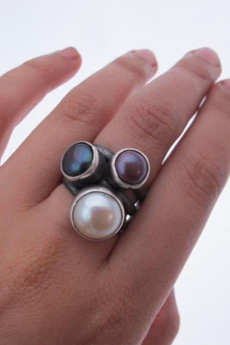 Stacking Ring- Sterling silver and freshwater pearls