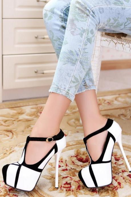T-type buckle fashion sexy women's singles shoes waterproof patent leather high with fine with