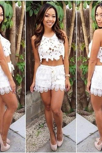 CUTE TWO PIECE LACE SUIT