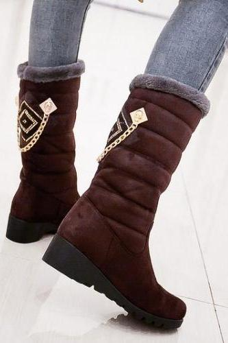 Chain Decorated Slip On Low Heel Brown Suede Ankle Snow Boots