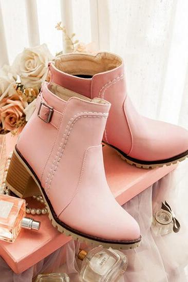Sweet Pink Chunky High Heel Buckle Martin Ankle Boots