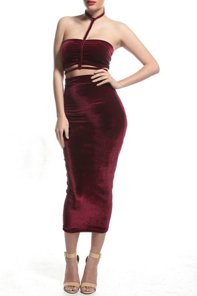 Sexy Halter Neck Tank Sleeveless Red Velvet Two-piece Sheath Mid Calf Dress