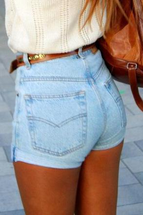 Casual High-waisted Button Fly Design Blue Blending Regular Shorts