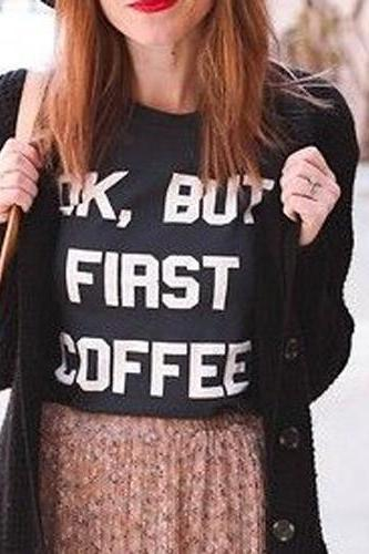 Casual O Neck Short Sleeves Letters Print Black Blending T-shirt