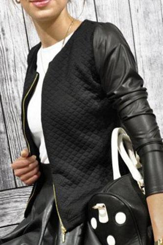 Fashion O Neck Long Sleeves PU Patchwork Zipper Design Black Blending Regular Jacket
