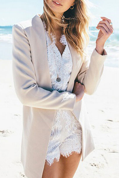 Fashion Long Sleeves Beige Blending Blazer