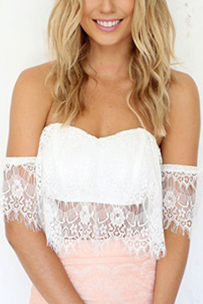 Sexy Off The Shoulder Hollow-out Lace Trim White Tank Top