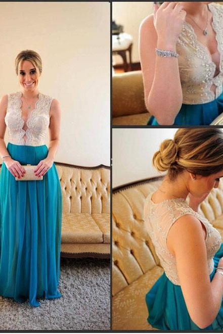 Sexy Long Bule Prom Dress ,Wedding Party Dress ,Bridesmaid Dress ,Long Evening Dress,Special Occasion Dress,Prom Dress 2015