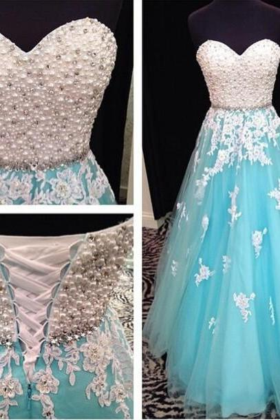 Elegant Light Blue Long Prom Dresses, A-Line Prom Dresses, Formal Dresses, Dresses for Prom, Floor-Length Prom Dresses, Pearl Prom Dresses