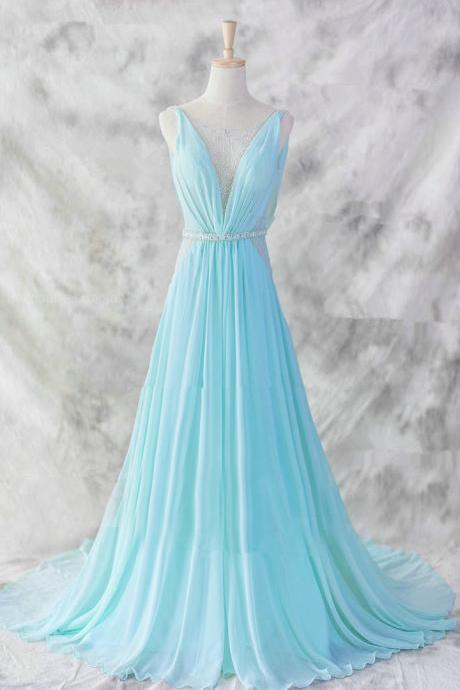Blue Pretty Baby Blue Chiffon Floor Length V-neckline Prom Gown 2015, Baby Blue Evening Dresses 2015, Blue Formal Dresses, Formal Dresses