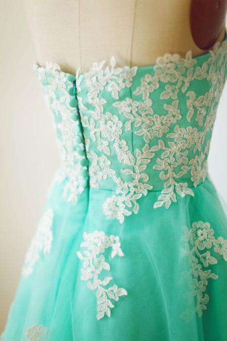 Blue Pretty Handmade Turquoise Tulle Tea Length Prom Dress With White Applique, Turquoise Prom Dresses, Homecoming Dresses 2015, Graduation Dresses