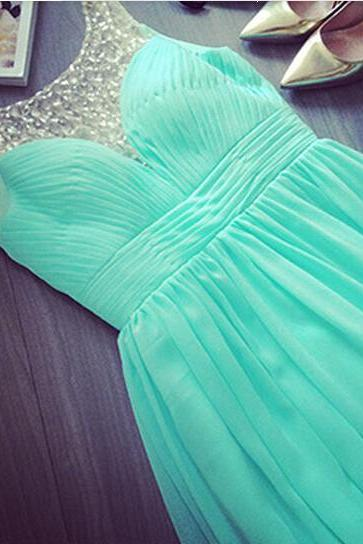 Elegant blue chiffon sweep train A-line prom dress with crystals new, lovely blue dragon prom dresses, prom dresses handmade 2015, evening dress, gown