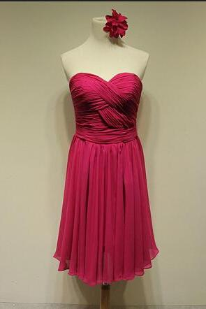 Lovely sweetheart short chiffon knee-length purple bridesmaid dresses, elegant bridesmaid dresses, wedding party dresses, bridesmaid dresses red roses