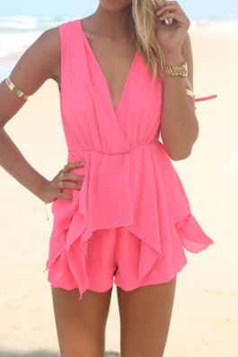 Sexy V-neck sleeveless chiffon halter pink romper WE8505PO