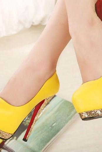 Metallic Color Block High Heel Shoes
