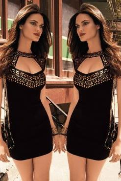 Black Gold Studs Embellished Dress