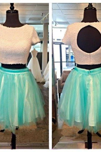 short prom dress, homecoming dress, two pieces prom dress, short sleeve prom dress, mini party dress, junior prom dress, cocktail dress,1417