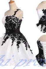 White Homecoming Dress,One Shoulder Homecoming Dresses,Black Lace Homecoming Gowns,Short Prom Gown,Sweet 16 Dress,Corset Homecoming Dresses,Fitted Formal Dress