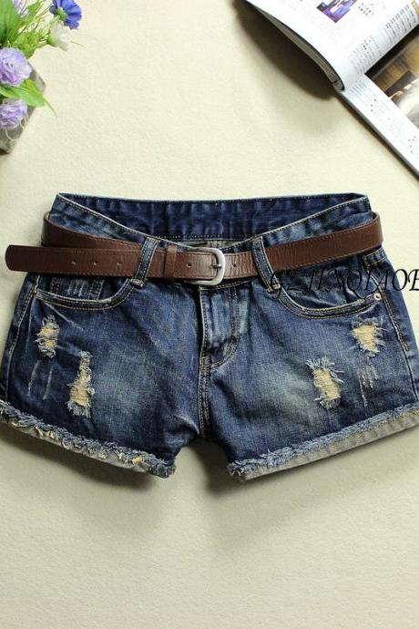 Oldest Summer New Leather Make Wild Frayed Denim Shorts Tide