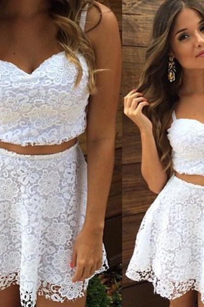 White Lace Dress Two-Piece
