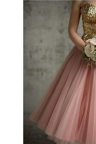 tea length prom dress, pink prom dress, sparkle prom dress, dresses for girls, homecoming dress, party prom dress, 1439