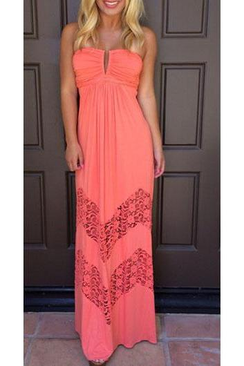 Elegant V Neck High Waist Maxi Dress