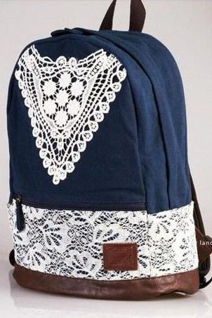 Blue Cute Lace Canvas Backpack