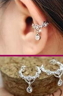 SEXY CROWN RHINESTONE EAR CLIP (DOUBLE, NO PIERCING)