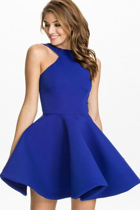 Halter Neck Short Skater Dress