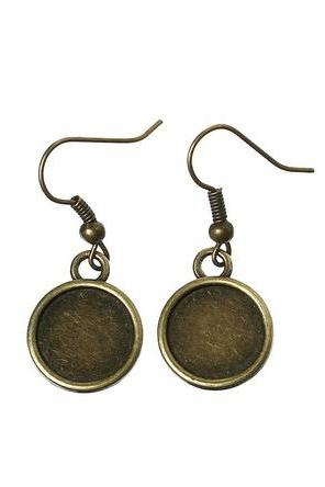 *Free Shipping* Earring Hooks Round Antique Bronze Cabochon Setting(Fits 12mm Dia) 3.4cm x 1.4cm,25 Pairs (B36071)