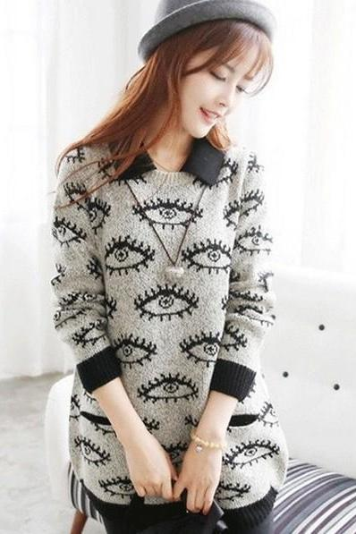 2015 Hot sale Funny Eyes Pattern Loose Sweater