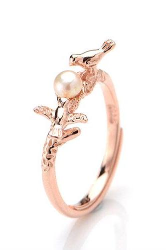 2015 Hot sale Original Guardian Pearl Birds Noble Rose Gold Opening Ring