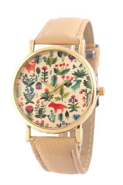 flower watch, flower leather watch, floral watch, leather watch, bracelet watch, vintage watch, retro watch, woman watch, lady watch, girl watch, unisex watch, AP00403