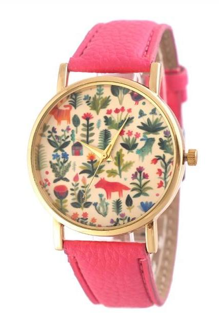 flower watch, flower leather watch, floral watch, leather watch, bracelet watch, vintage watch, retro watch, woman watch, lady watch, girl watch, unisex watch, AP00404