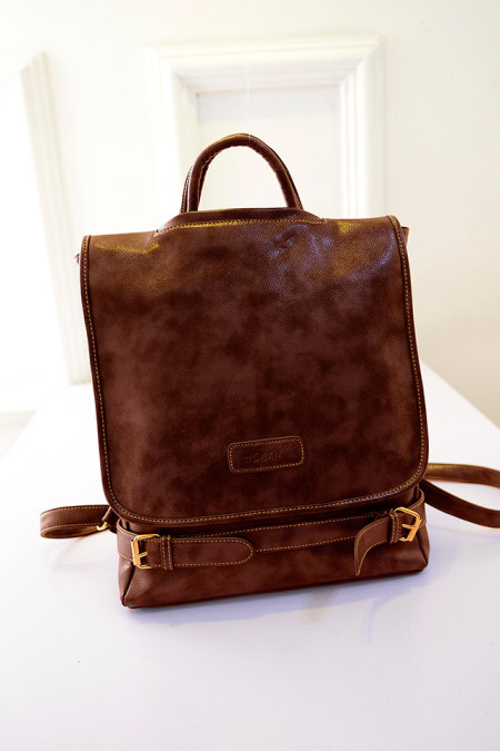 hot sale Vintage Simple Street Square Clam shell Solid Travel Backpack