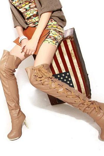 Lace lace waterproof super slim and knee-high boots