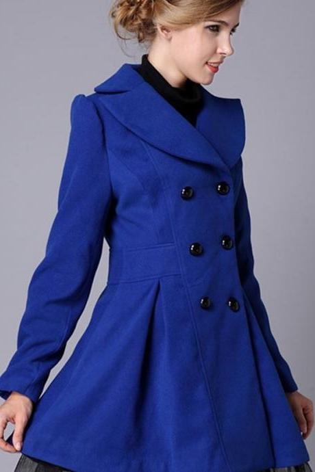 Blue Trench Coat Fashion Royal Blue Wool Winter Coats for Women Woolen Material
