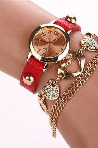 Dress Fashion Heart Pendant Red Band Woman Watch