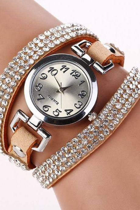 Rhinestones Dress Popular Girl Wrap Khaki Band Watch